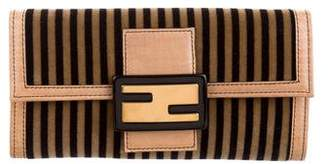 Fendi Leather-Trimmed Striped Wallet