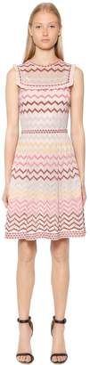 M Missoni Zigzag Lurex Knit Dress W/ Ruffles
