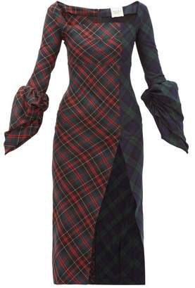 A.W.A.K.E. Mode Thistle Whistle Square Neck Tartan Dress - Womens - Multi