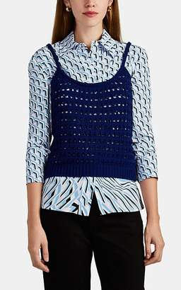 Prada Women's Logo-Knit Crochet Sleeveless Top - Navy