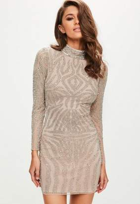 Missguided Nude High Neck Bodycon Dress