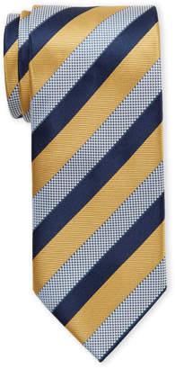 Ermenegildo Zegna Gold Diagonal Stripe Silk Tie