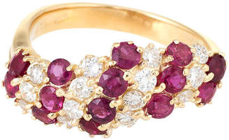 One Kings Lane Vintage 18K Gold - Ruby & Diamond Candy Cane Ring - Precious & Rare Pieces