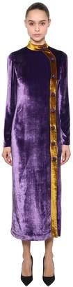 Velvet Long Dress W/ Jewel Buttons