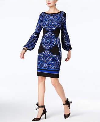 INC International Concepts I.n.c. Petite Printed Peasant-Sleeve Dress