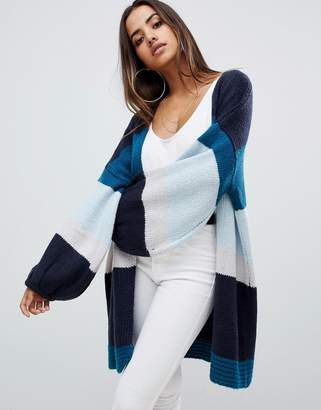 PrettyLittleThing color block cardigan in blue stripe