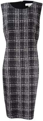 Calvin Klein Womens Petites Sleeveless Plaid Wear to Work Dress B/W 6P