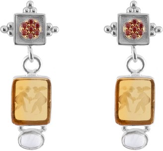 Tagliamonte Sterling/Rhodium-Plated Venetian Intaglio Angels Earrings