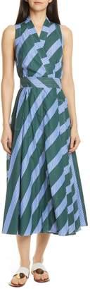Tory Burch Multistripe Back Tie Cotton Wrap Dress