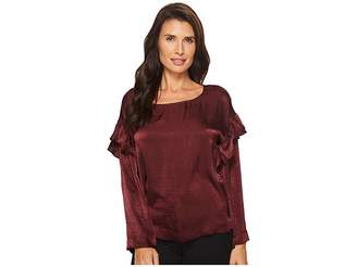 Vince Camuto Long Sleeve Ruffle Front Satin Rumple Blouse Women's Long Sleeve Pullover