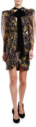 Giambattista Valli Long-Sleeve Tie-Shoulder Dress