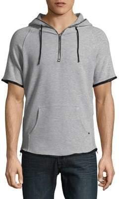 Karl Lagerfeld Quarter-Zip Short-Sleeve Hoodie