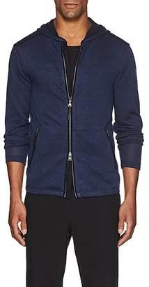 John Varvatos Men's Jersey-Trimmed Linen-Blend Zip-Front Hoodie