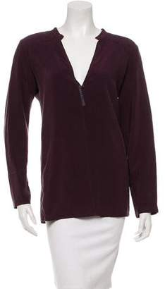 Humanoid Long Sleeve Leather-Trimmed Top