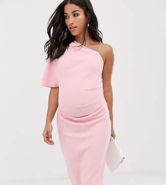 bff2cdd8163f2 Asos DESIGN Maternity baby shower one shoulder strap detail midi dress