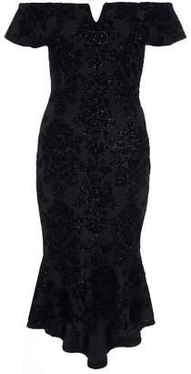 Quiz Black Glitter V Bar Bardot Frill Hem Dress