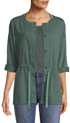 Eileen Fisher Round-Neck Organic Cotton Twill Shirttail Jacket, Plus Size