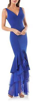 Carmen Marc Valvo Tiered Mermaid Gown