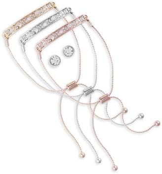 GUESS Tri-Tone Crystal 3-Piece Slider Bracelet Stud Earrings Set