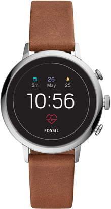 Fossil Q Venture HR Gen 4 Leather Strap Smart Watch, 40mm