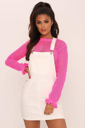 I SAW IT FIRST White Dungaree Dress With Pocket Detail