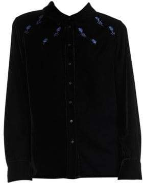 Maje Floral-Embroidered Velvet Button-Down Shirt