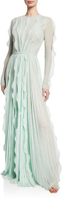 J. Mendel Long-Sleeve Ruffled & Pleated Gown