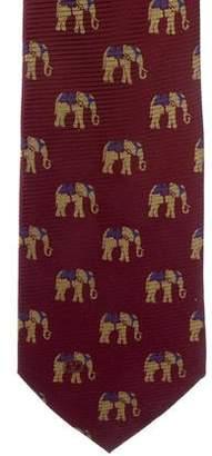 Valentino Elephant Print Silk Tie