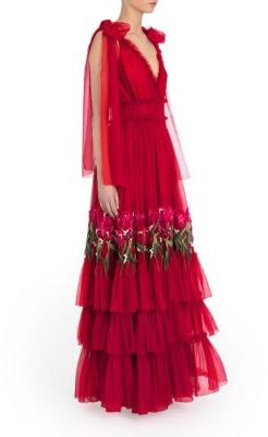 Dolce & Gabbana Bow-Shoulder Embroidered Silk Chiffon Gown $13,500 thestylecure.com