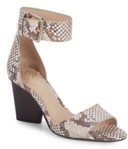 Vince Camuto Driton Embossed Leather Ankle-Strap Sandals