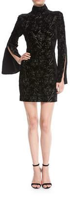 Cinq à Sept Winslow Turtleneck Bell-Sleeve Velvet Dress w/ Floral Metallic