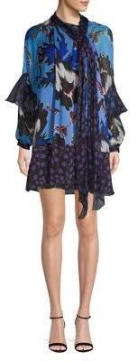 Diane von Furstenberg Floral Ruffle Silk Shift Dress