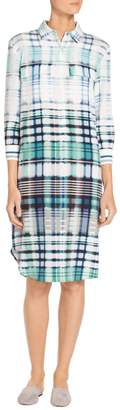 St. John Ombre Plaid Stretch CDC Shirt Dress