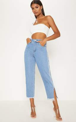 PrettyLittleThing Mid Wash Side Zip Straight Leg Jeans