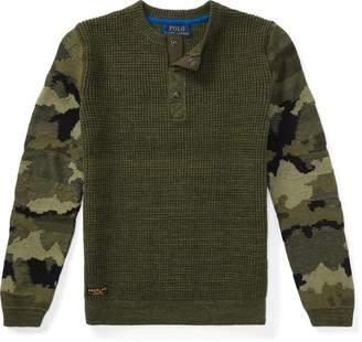 Ralph Lauren Camo-Sleeve Cotton Sweater