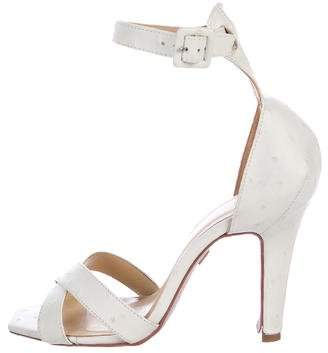 Herve Leger Embossed Crossover Sandals