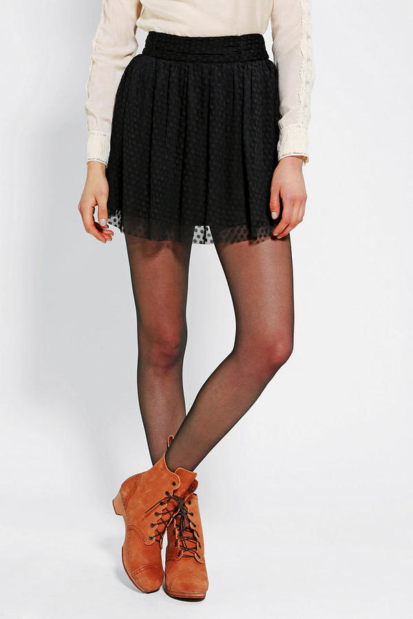 Urban Outfitters Pins And Needles Dotty Mesh Mini Skirt