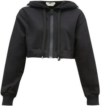 Fendi Logo Stripe Cotton Blend Cropped Hooded Sweatshirt - Womens - Black