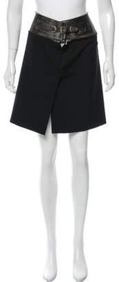 Jean Paul Gaultier Leather-Trimmed Mini Skirt