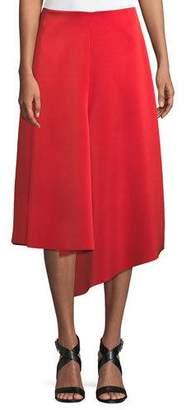 Tibi Draped A-Line Satin Midi Skirt