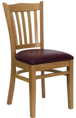 Generic Slat Back Chairs - Set of 2, Natural / Burgundy Vinyl Seat