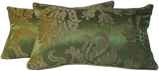 One Kings Lane Vintage Silk Damask Pillows - Set of 2 - Mary Jane McCarty Design