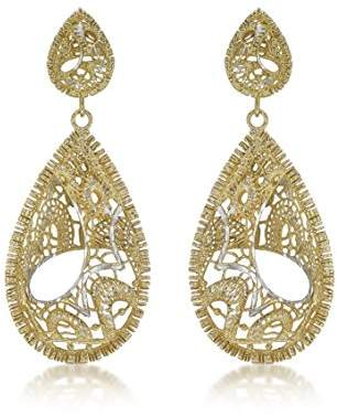 Carissima Gold 9 ct Two-Tone Gold Lace Style Swirl Teardrop Stud Earrings raOL2Ux50