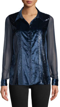 Elie Tahari Ingunn Button-Front Long-Sleeve Metallic-Striped Velvet Blouse