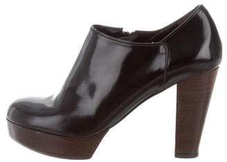 Robert Clergerie Leather Round-Toe Booties