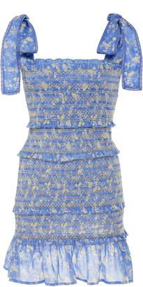 LoveShackFancy Belle Smocked Floral-Print Cotton Mini Dress Size: XS