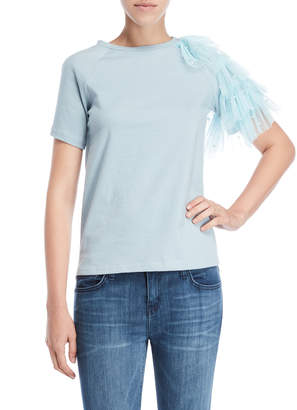 On Twelfth Faux Pearl Ruffle Sleeve Tee