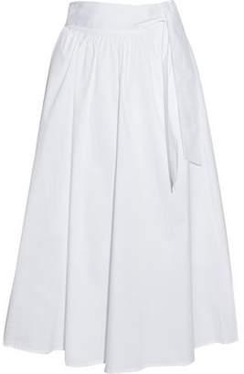 Iris & Ink Mel Gathered Cotton-Blend Poplin Midi Skirt