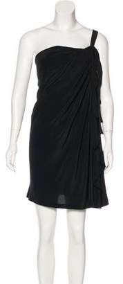 Robert Rodriguez One-Shoulder Silk Dress