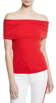 Ralph Lauren Off-the-Shoulder Cotton Ribbed Top
